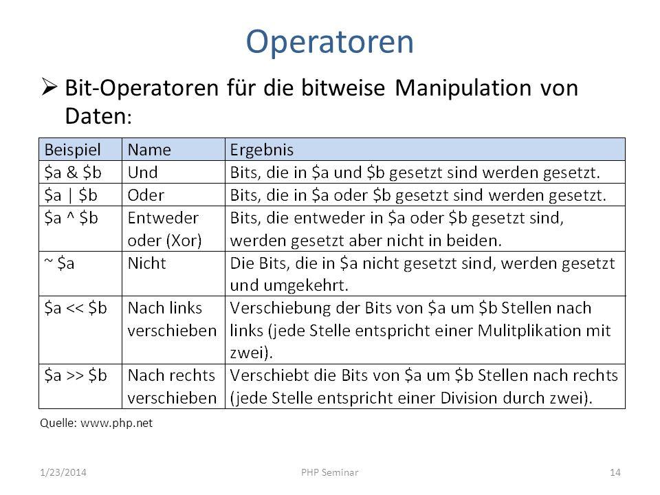 Operatoren Bit-Operatoren für die bitweise Manipulation von Daten: