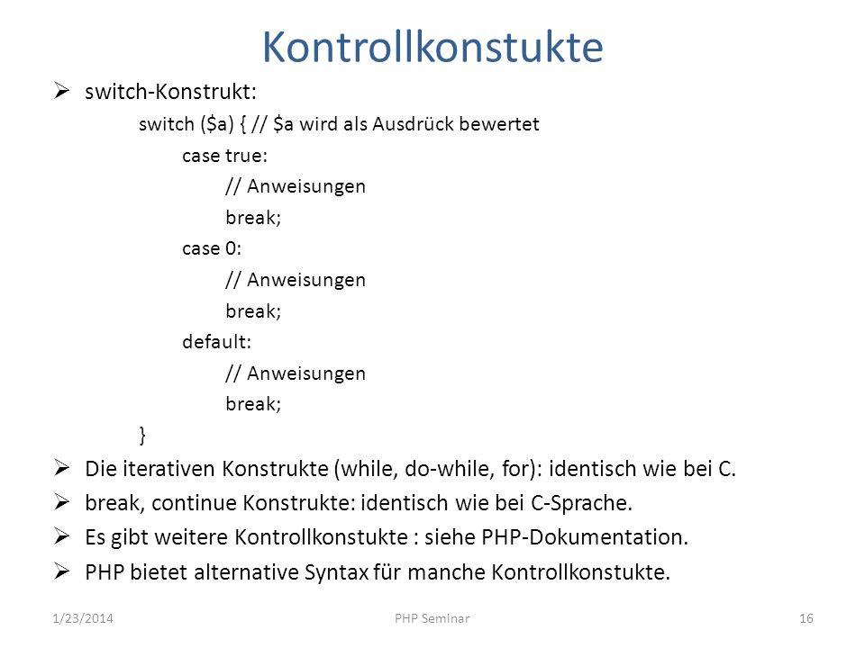 Kontrollkonstukte switch-Konstrukt: