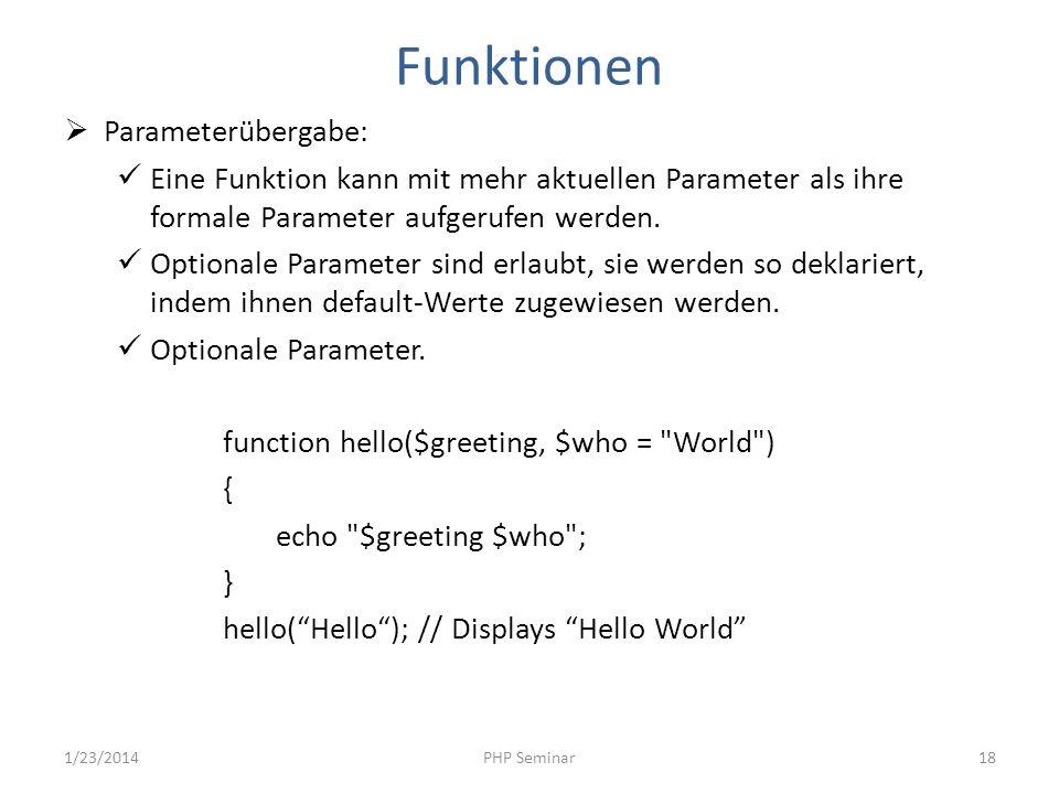 Funktionen Parameterübergabe: