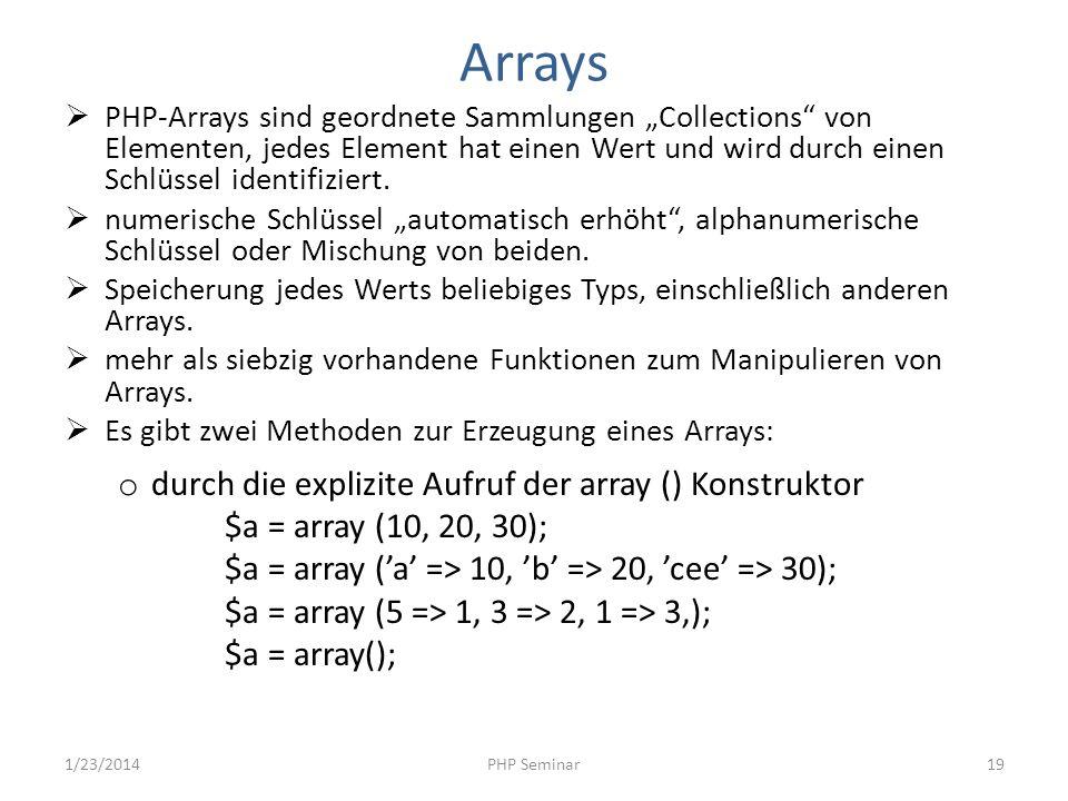 Arrays durch die explizite Aufruf der array () Konstruktor