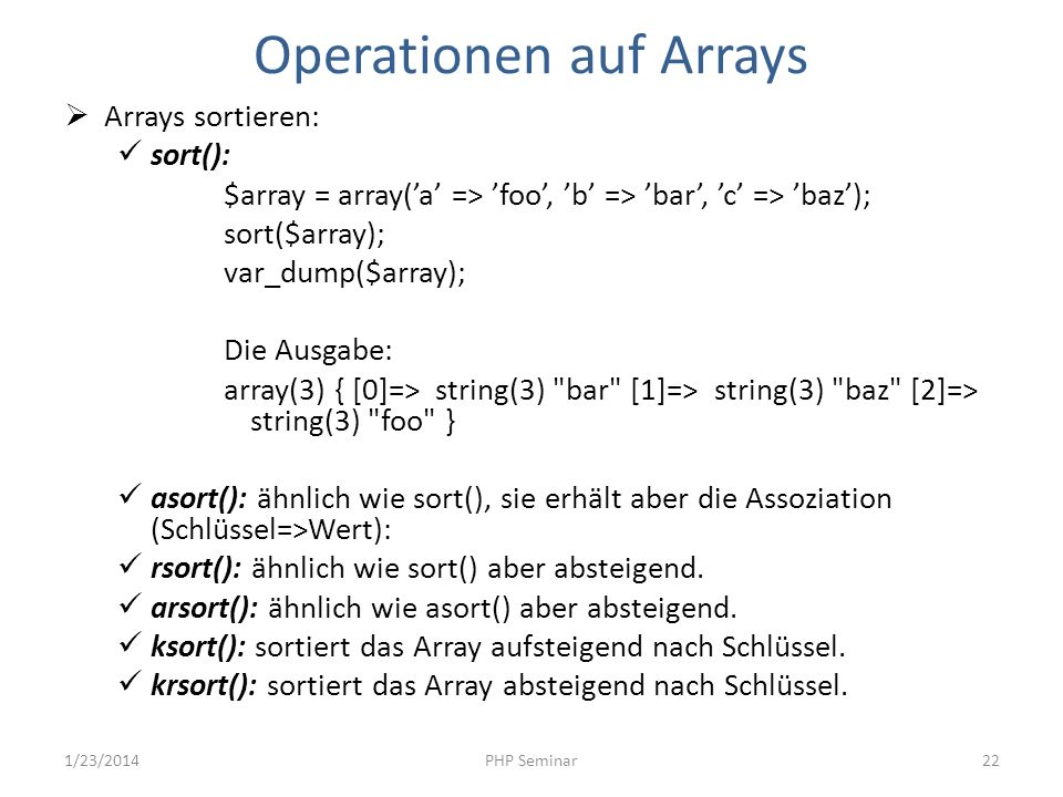Operationen auf Arrays