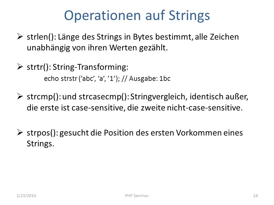 Operationen auf Strings