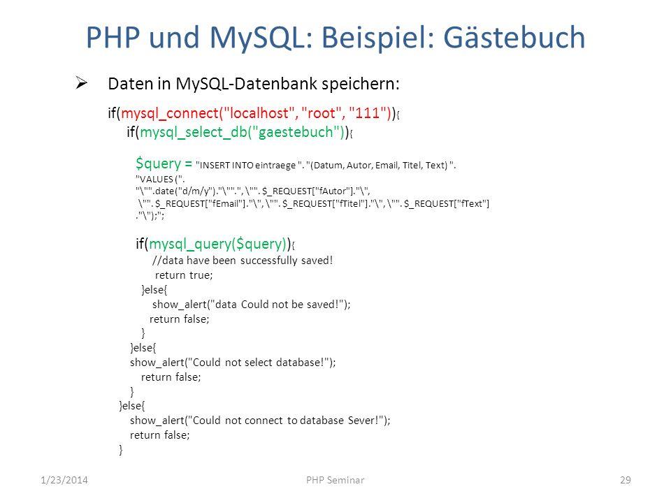 PHP und MySQL: Beispiel: Gästebuch