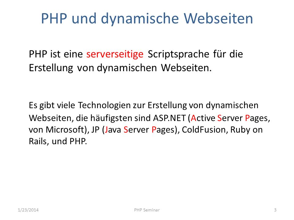 PHP und dynamische Webseiten