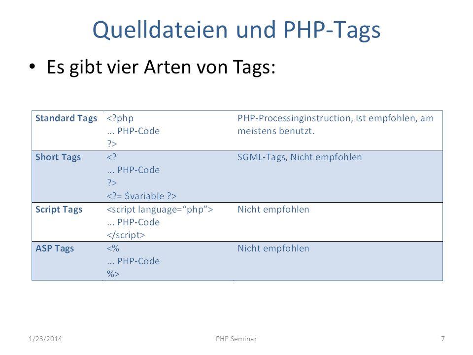 Quelldateien und PHP-Tags