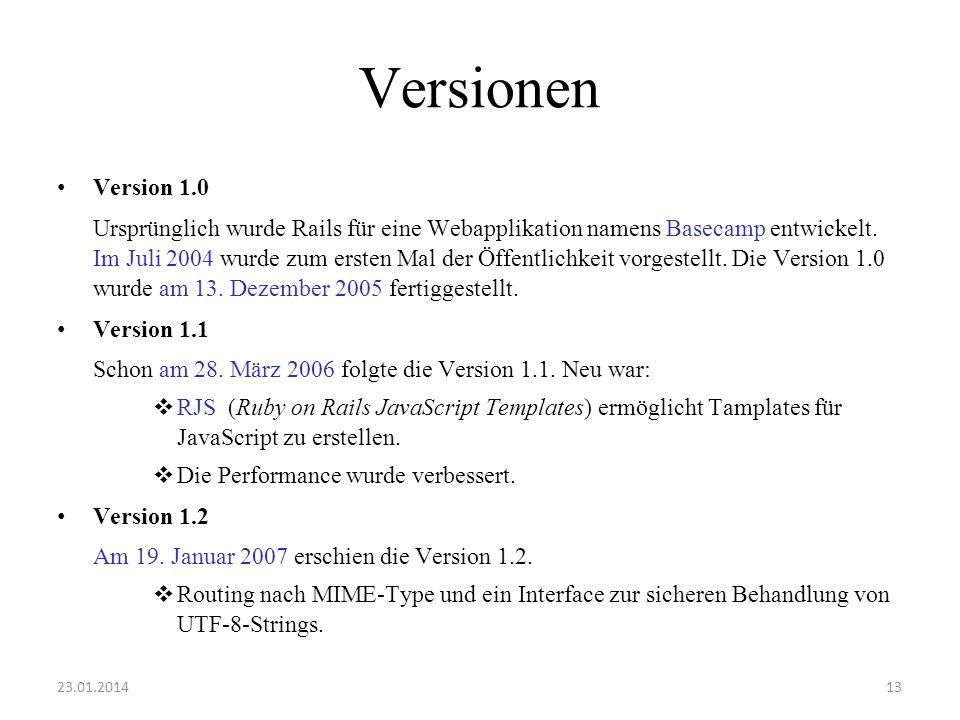 Versionen Version 1.0.