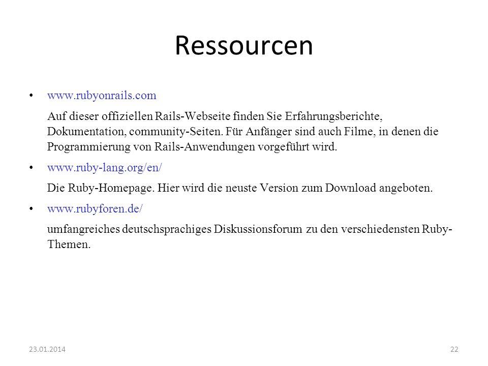 Ressourcen www.rubyonrails.com