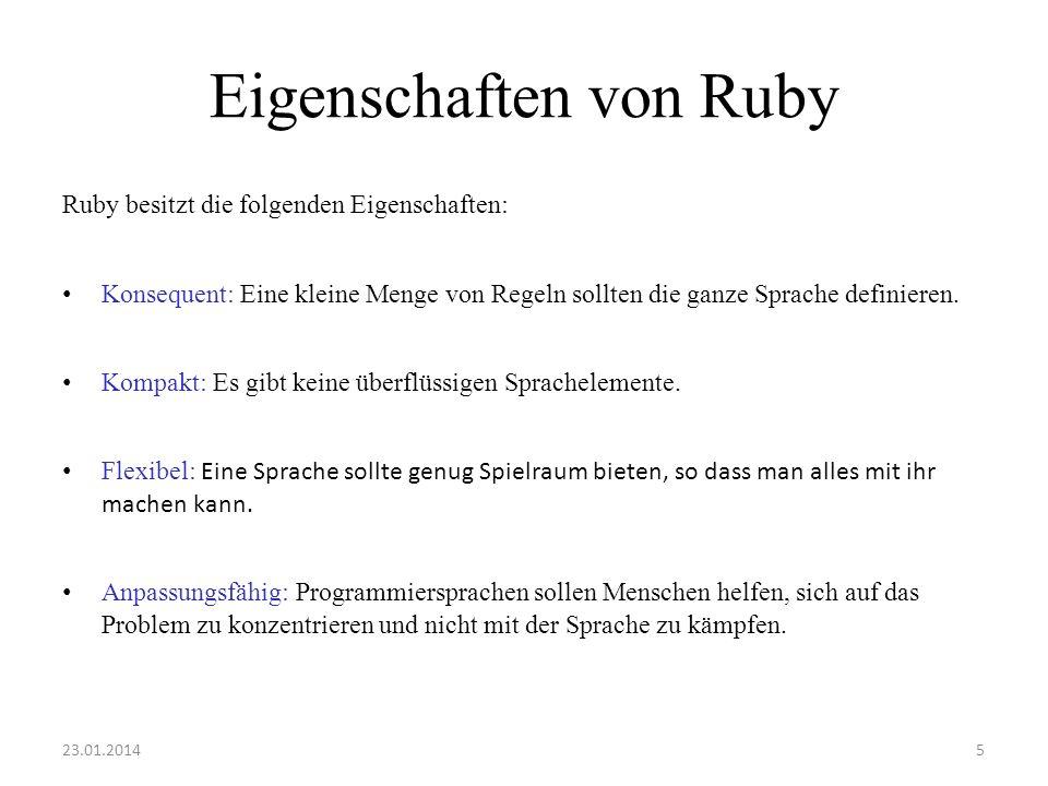 Eigenschaften von Ruby