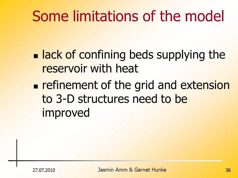 Some limitations of the model
