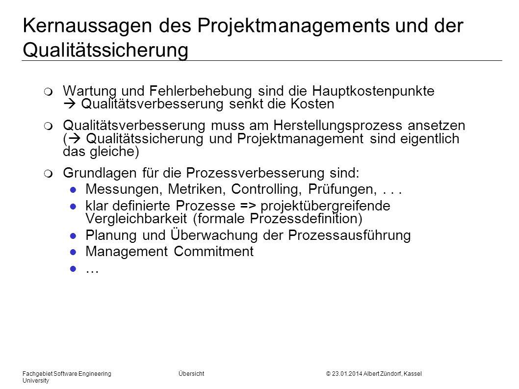 Kernaussagen des Projektmanagements und der Qualitätssicherung