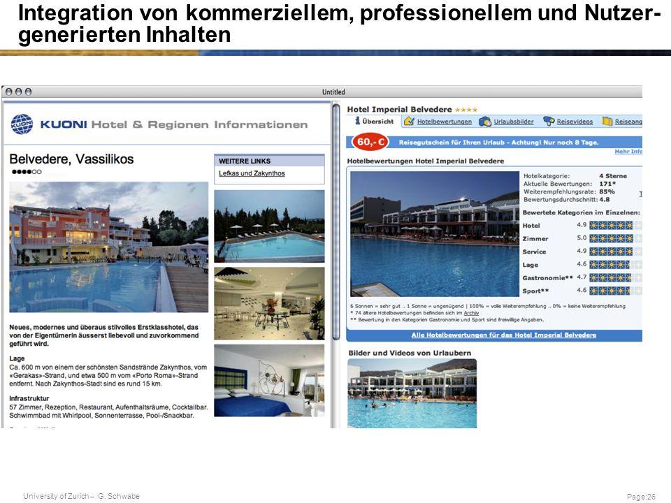 Integration von kommerziellem, professionellem und Nutzer-generierten Inhalten