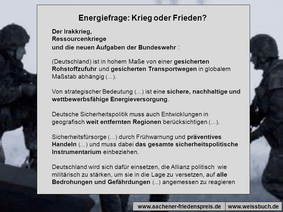 Energiefrage: Krieg oder Frieden