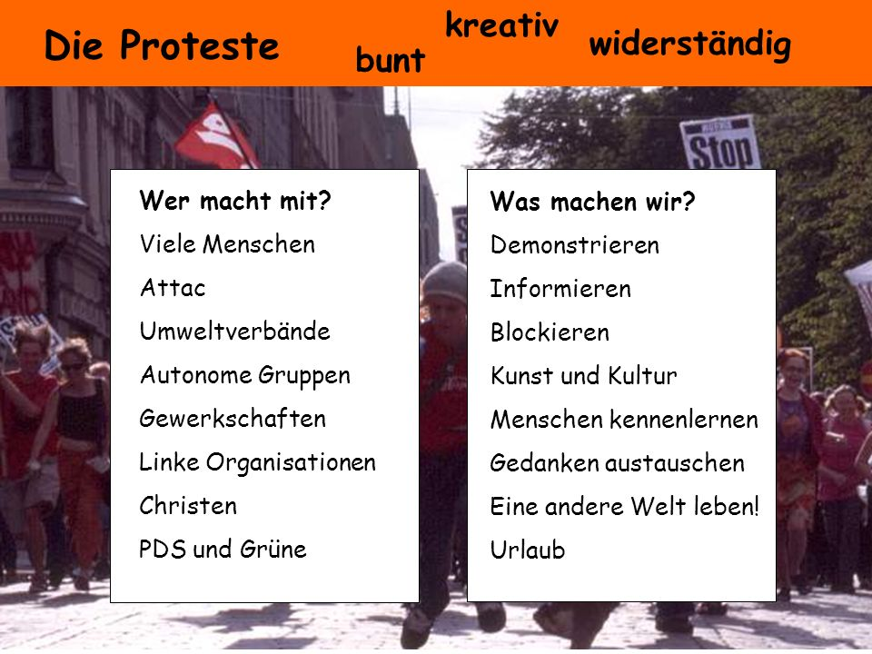 Die Proteste kreativ widerständig bunt Wer macht mit Was machen wir