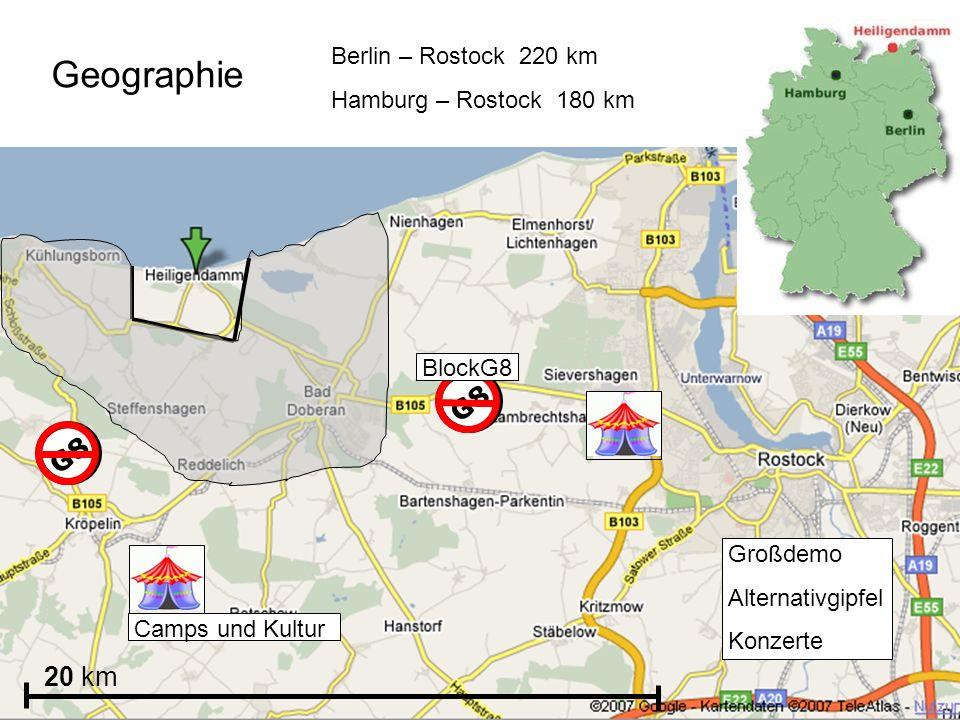 Geographie G8 G8 20 km Berlin – Rostock 220 km