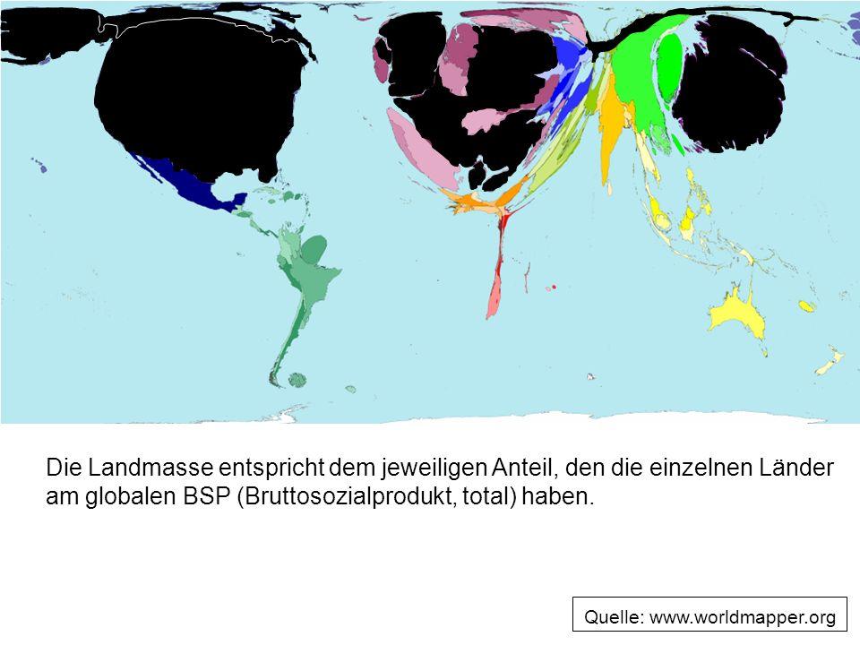 Die Landmasse entspricht dem jeweiligen Anteil, den die einzelnen Länder am globalen BSP (Bruttosozialprodukt, total) haben.
