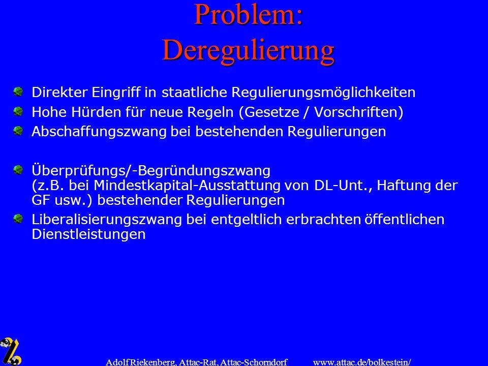 Problem: Deregulierung