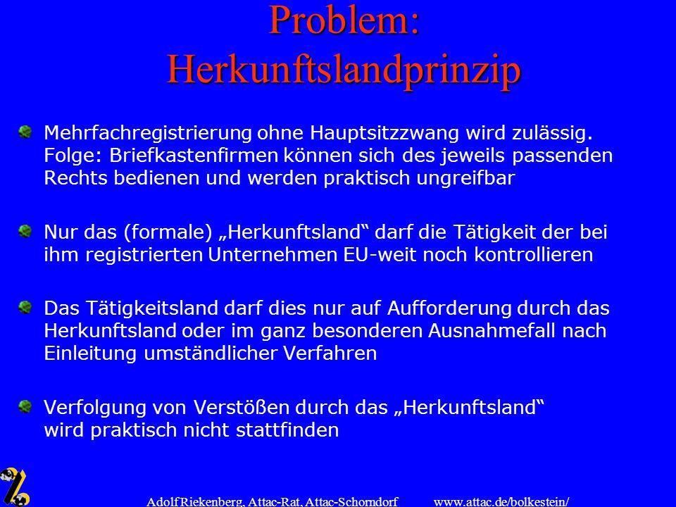 Problem: Herkunftslandprinzip