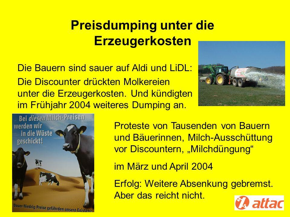 Preisdumping unter die Erzeugerkosten