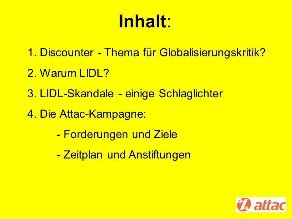 Inhalt: 1. Discounter - Thema für Globalisierungskritik