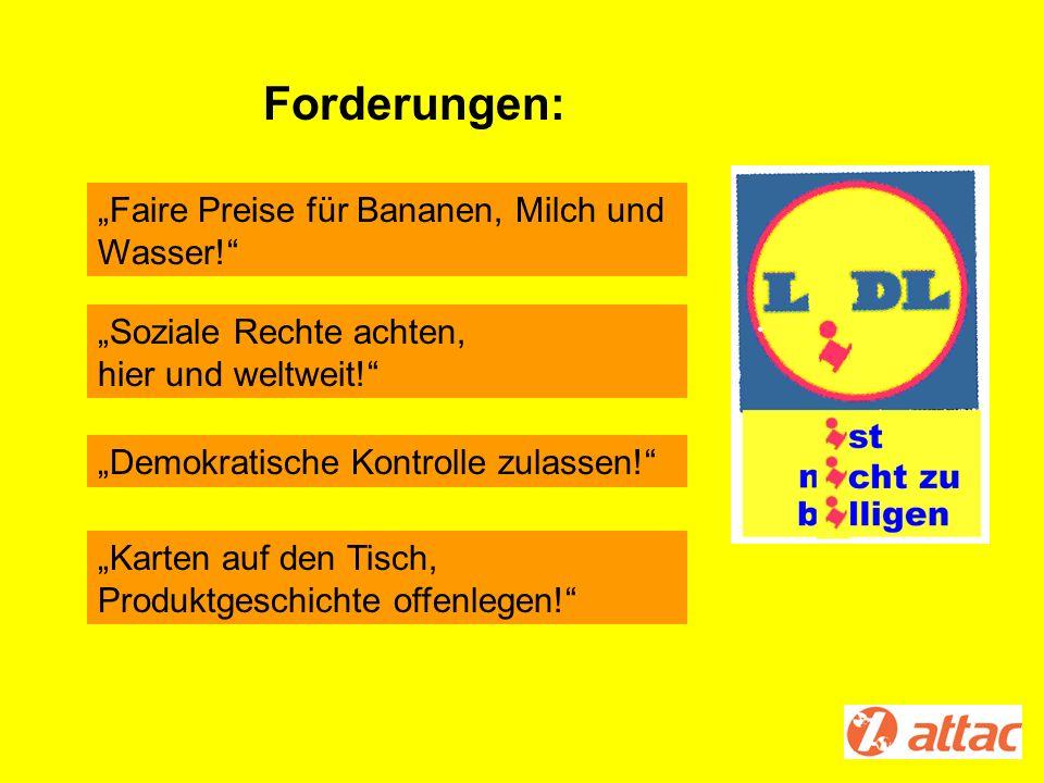 """Forderungen: """"Faire Preise für Bananen, Milch und Wasser!"""