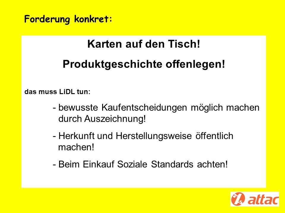 Produktgeschichte offenlegen!