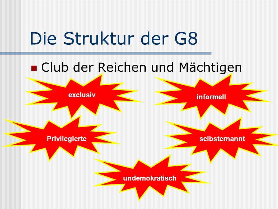 Die Struktur der G8 Club der Reichen und Mächtigen exclusiv informell