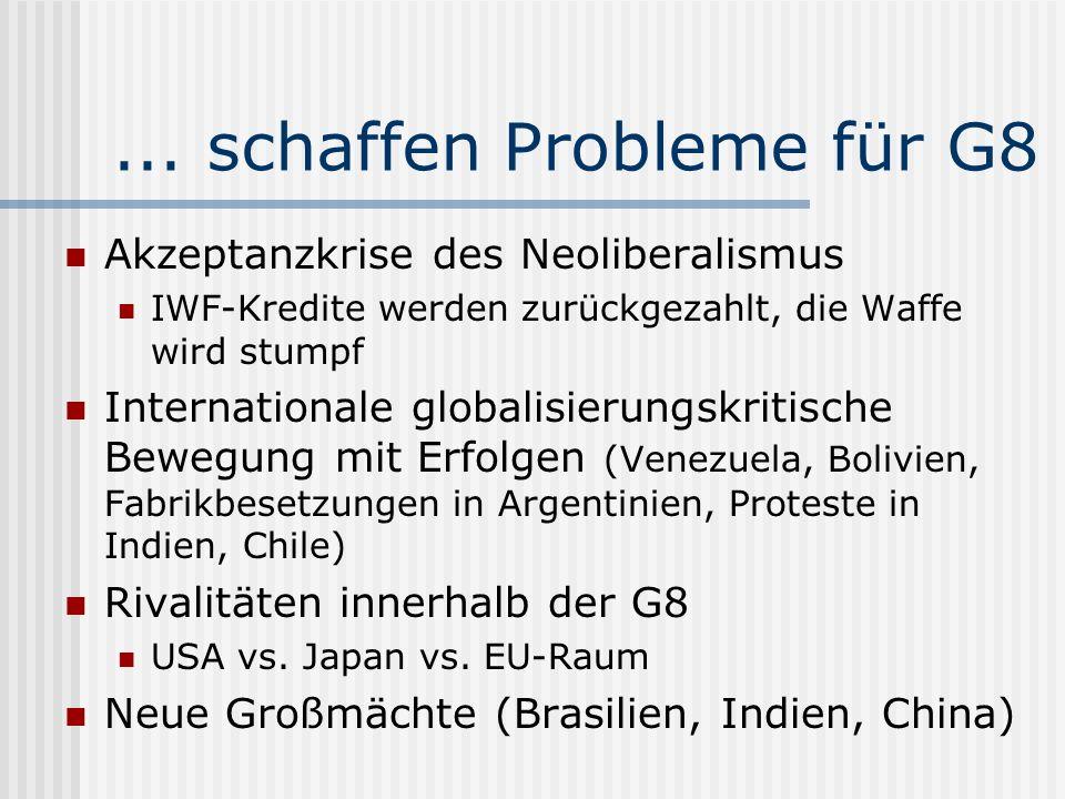 ... schaffen Probleme für G8