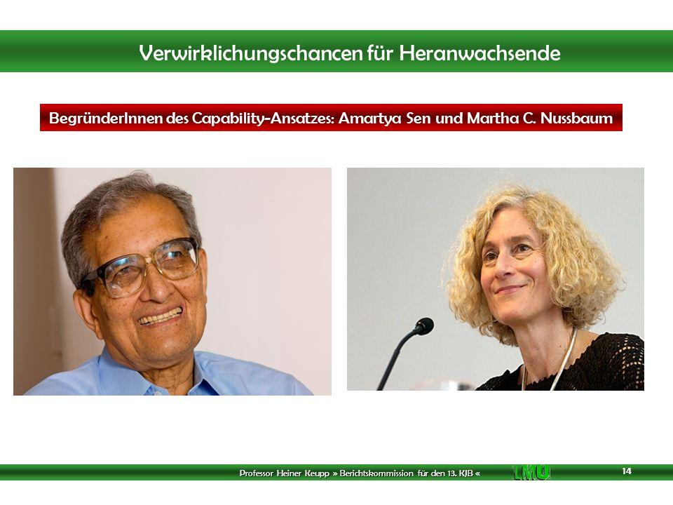 BegründerInnen des Capability-Ansatzes: Amartya Sen und Martha C