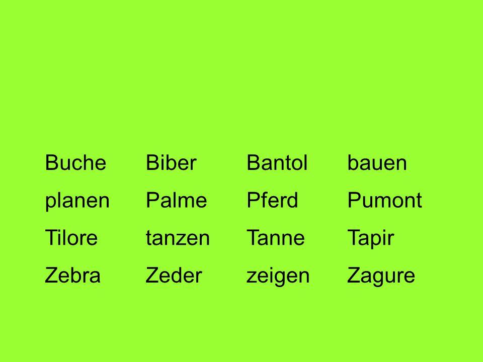 BucheBiber. Bantol. bauen. planen. Palme. Pferd. Pumont. Tilore. tanzen. Tanne. Tapir. Zebra. Zeder.