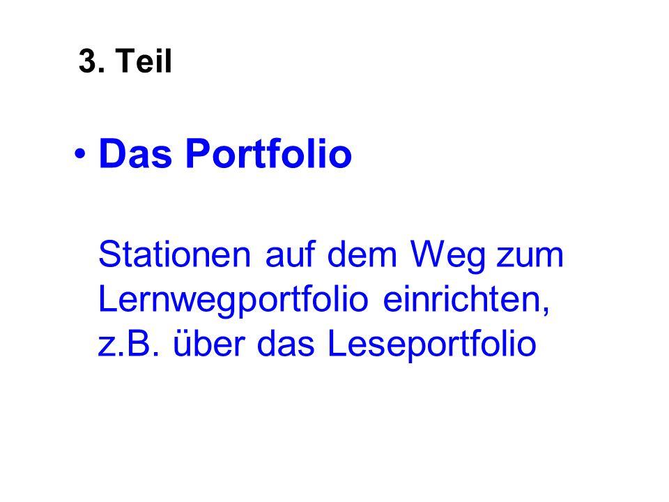 3.TeilDas Portfolio Stationen auf dem Weg zum Lernwegportfolio einrichten, z.B.