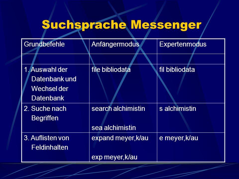Suchsprache Messenger