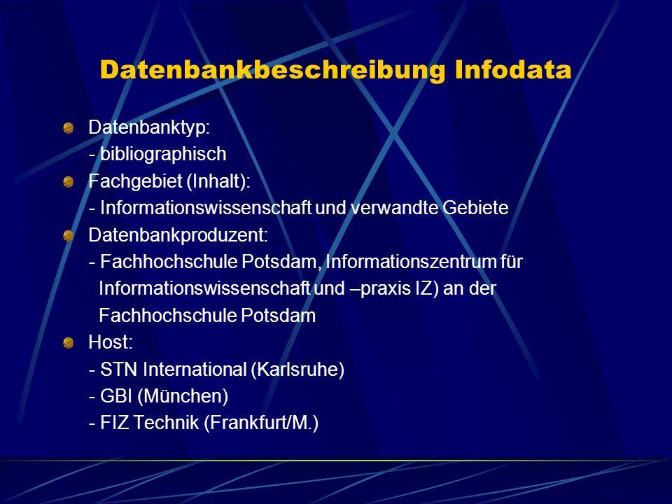 Datenbankbeschreibung Infodata
