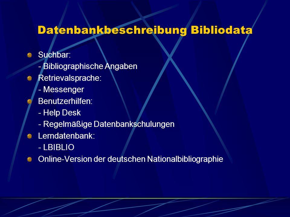 Datenbankbeschreibung Bibliodata