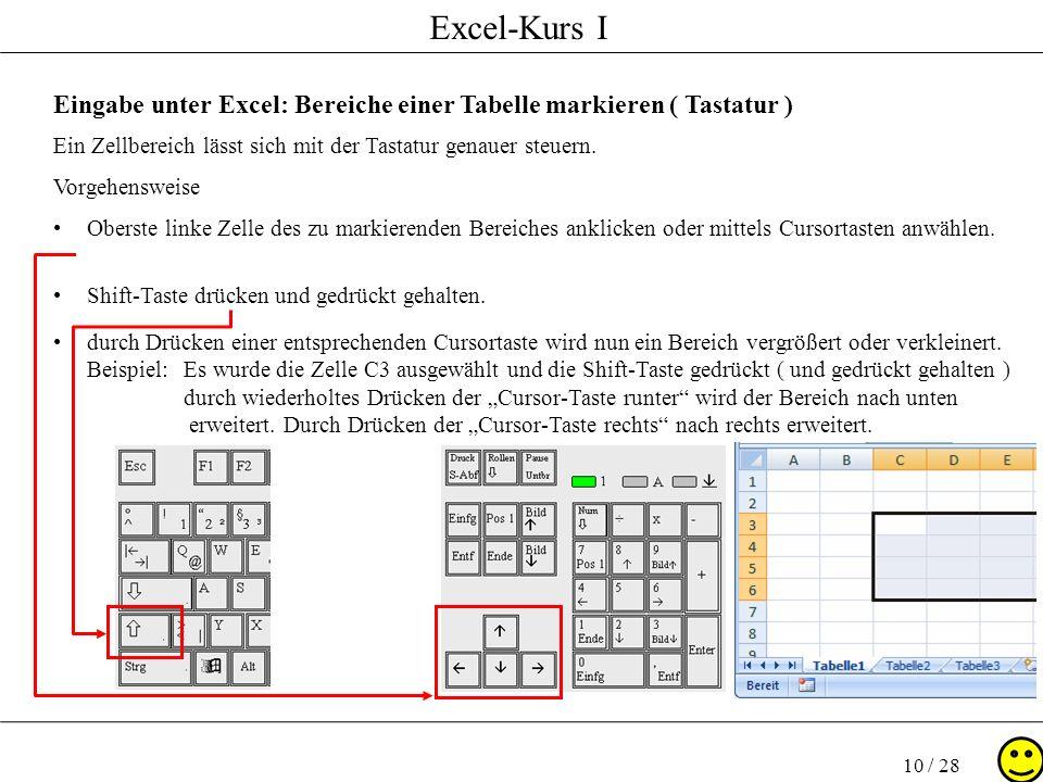 Eingabe unter Excel: Bereiche einer Tabelle markieren ( Tastatur )