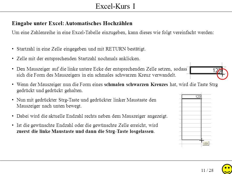 Eingabe unter Excel: Automatisches Hochzählen