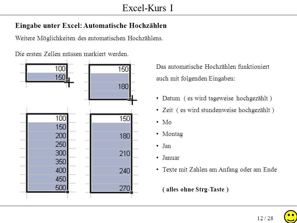 Eingabe unter Excel: Automatische Hochzählen