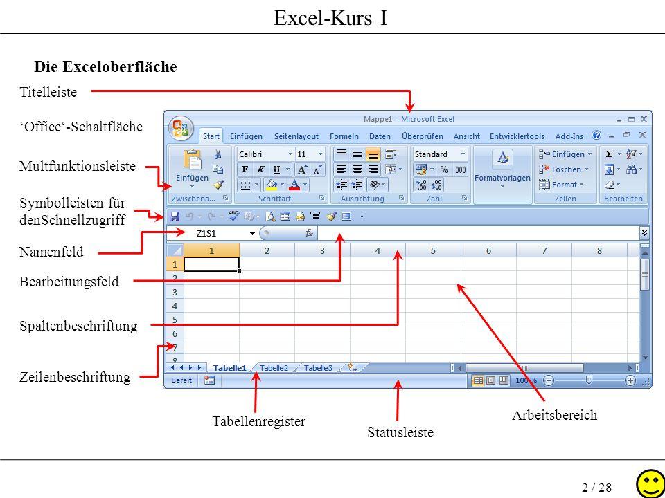 Die Exceloberfläche Titelleiste 'Office'-Schaltfläche