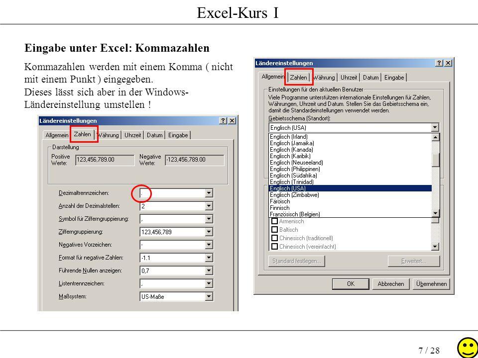Eingabe unter Excel: Kommazahlen