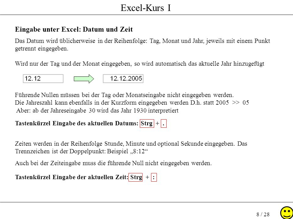 Eingabe unter Excel: Datum und Zeit
