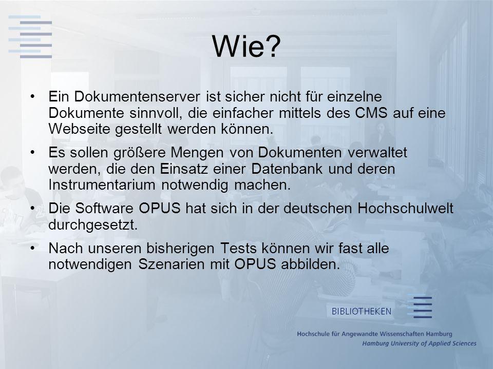 Wie Ein Dokumentenserver ist sicher nicht für einzelne Dokumente sinnvoll, die einfacher mittels des CMS auf eine Webseite gestellt werden können.