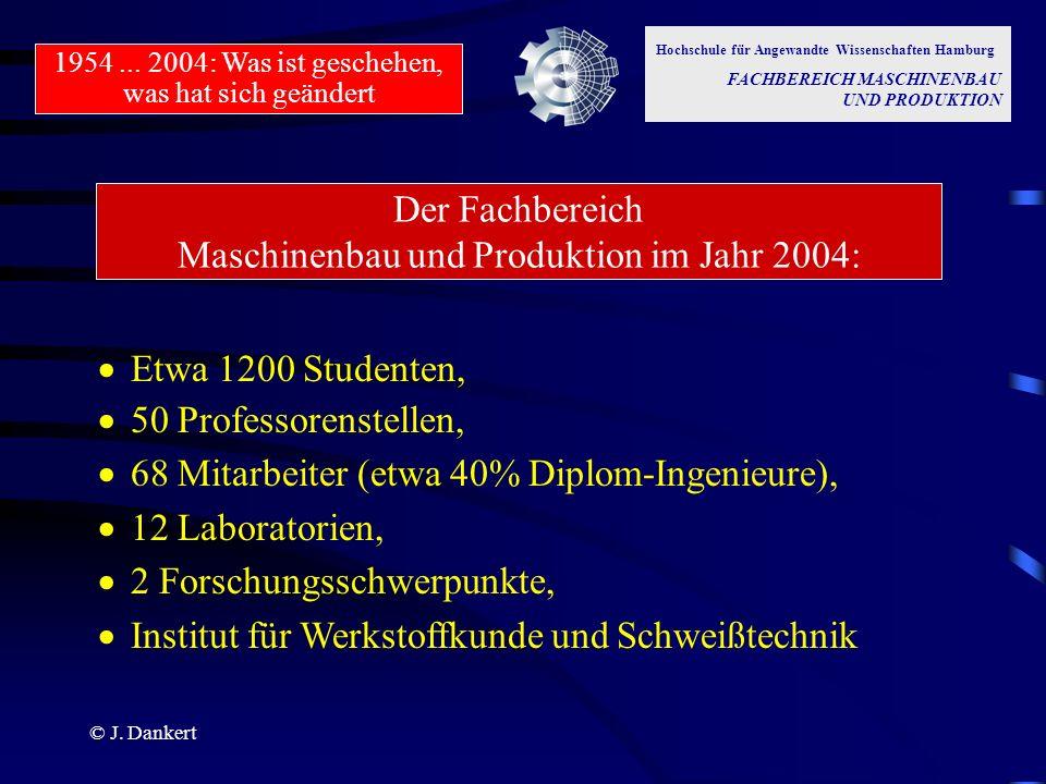 Der Fachbereich Maschinenbau und Produktion im Jahr 2004: