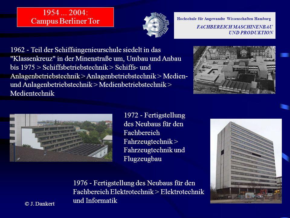 1954 ... 2004: Campus Berliner Tor Hochschule für Angewandte Wissenschaften Hamburg. FACHBEREICH MASCHINENBAU UND PRODUKTION.