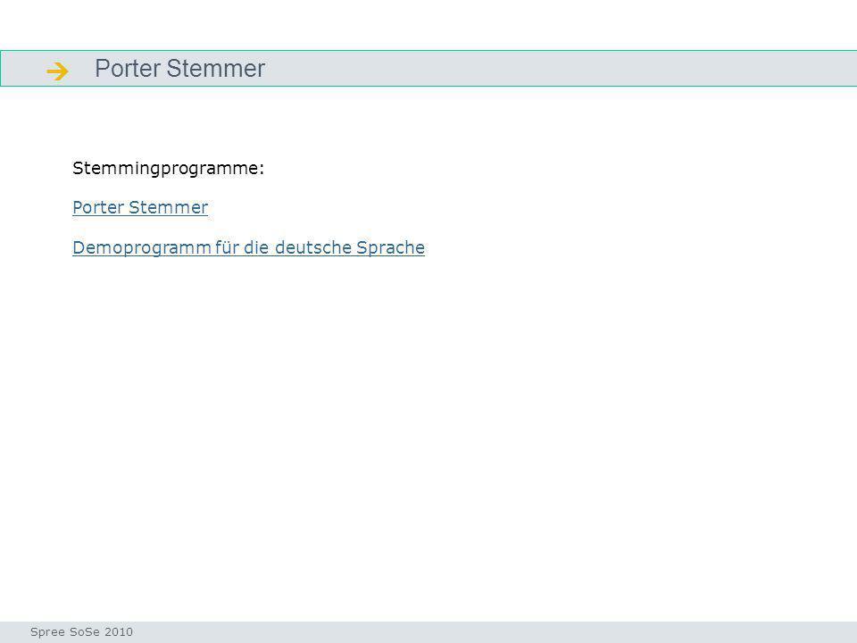  Porter Stemmer Stemmingprogramme: Porter Stemmer