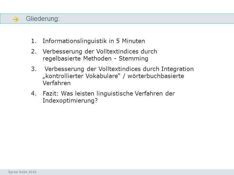  Gliederung: Informationslinguistik in 5 Minuten