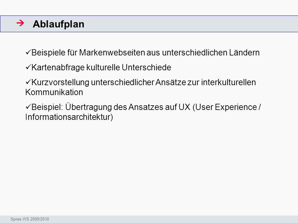 Ablaufplan  ArbeitsschritteW. Beispiele für Markenwebseiten aus unterschiedlichen Ländern. Kartenabfrage kulturelle Unterschiede.