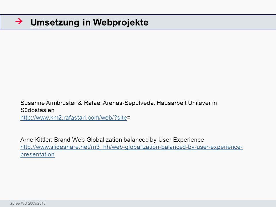 Umsetzung in Webprojekte