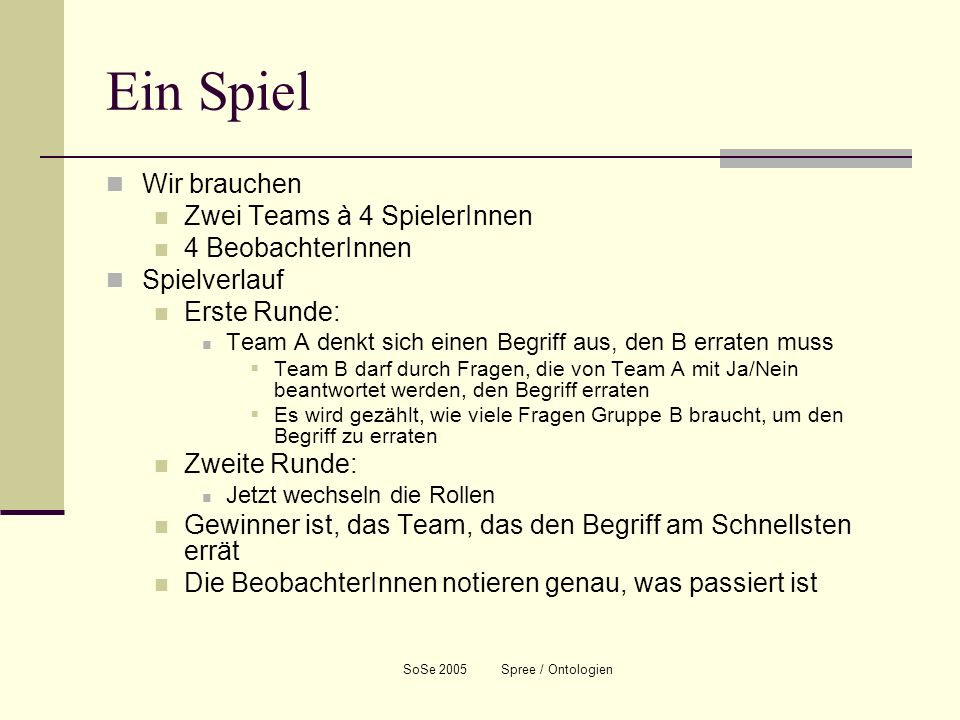 SoSe 2005 Spree / Ontologien