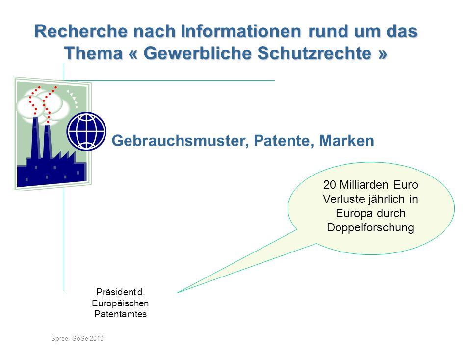 Gebrauchsmuster, Patente, Marken