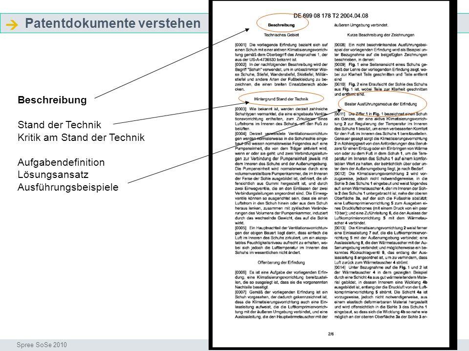  Patentdokumente verstehen Beschreibung Stand der Technik