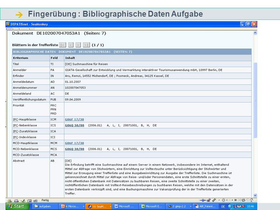  Fingerübung : Bibliographische Daten Aufgabe